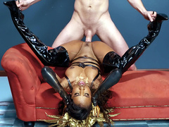 Sexy ebony Demi Sutra gets fucked upside down jackhammer style