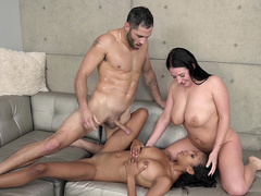 Damon Dice drops his load all over Nia Nacci with Angela White
